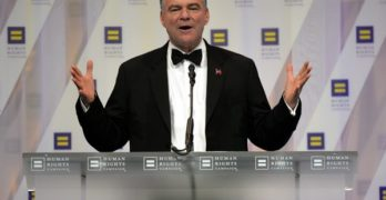 'I think we're supposed to celebrate it, not challenge it': Tim Kaine says Catholic Church might (like he did) change its mind about marriage equality